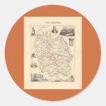 1858 mapa del departamento de Lozere, Francia Pegatinas Redondas