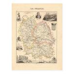1858 mapa del departamento de Lozere, Francia Tarjetas Postales