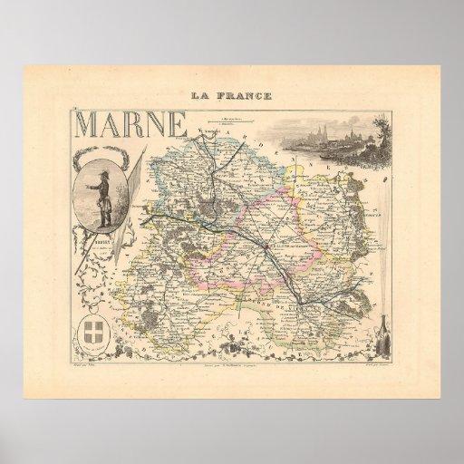 1858 mapa del departamento de Marne, Francia Impresiones