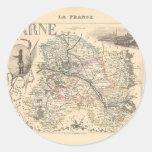 1858 mapa del departamento de Marne, Francia Pegatina Redonda
