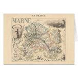 1858 mapa del departamento de Marne, Francia Tarjeta