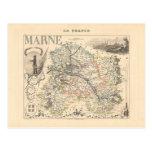 1858 mapa del departamento de Marne, Francia Postales