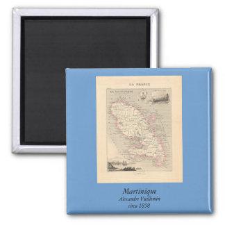 1858 mapa del departamento de Martinica, Francia Imán Cuadrado