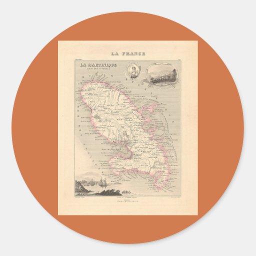 1858 mapa del departamento de Martinica, Francia Pegatina Redonda