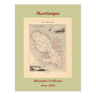 1858 mapa del departamento de Martinica, Francia Postales