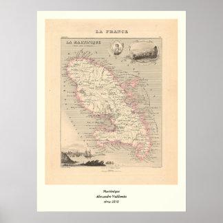 1858 mapa del departamento de Martinica, Francia Póster