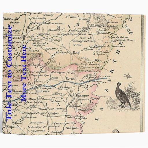 1858 mapa del departamento de Mayenne, Francia