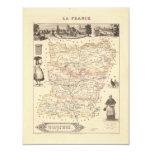 1858 mapa del departamento de Mayenne, Francia Invitación 10,8 X 13,9 Cm
