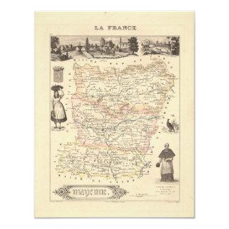 1858 mapa del departamento de Mayenne, Francia Comunicado Personal