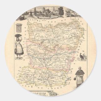 1858 mapa del departamento de Mayenne Francia Etiquetas
