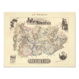 1858 mapa del departamento de Meurthe, Francia Comunicado