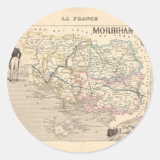 1858 mapa del departamento de Morbihan Francia Pegatinas Redondas