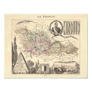 1858 mapa del departamento de Mosela, Francia Comunicados