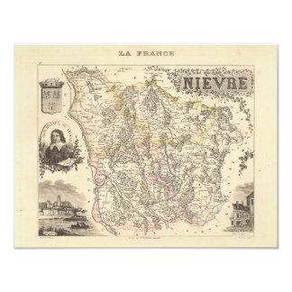 1858 mapa del departamento de Nievre, Francia Invitaciones Personales