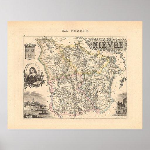 1858 mapa del departamento de Nievre, Francia Impresiones