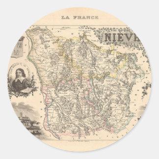1858 mapa del departamento de Nievre Francia Etiqueta Redonda
