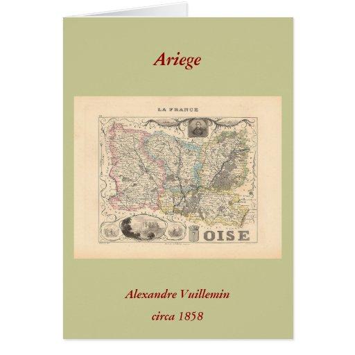 1858 mapa del departamento de Oise, Francia Tarjeta De Felicitación