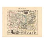 1858 mapa del departamento de Oise, Francia Postales