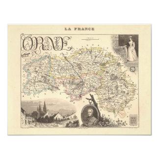 1858 mapa del departamento de Orne, Francia Invitación Personalizada