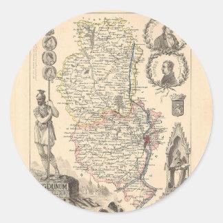 1858 mapa del departamento de Rhone Francia Etiquetas