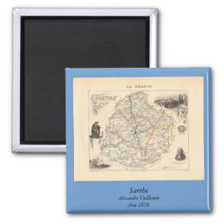 1858 mapa del departamento de Sarthe, Francia Imán Cuadrado