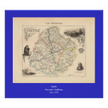 1858 mapa del departamento de Sarthe, Francia Poster