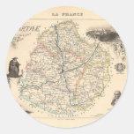 1858 mapa del departamento de Sarthe, Francia Etiqueta Redonda