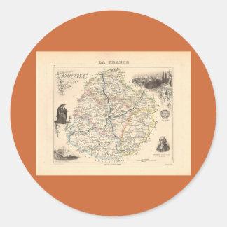1858 mapa del departamento de Sarthe Francia Etiquetas Redondas