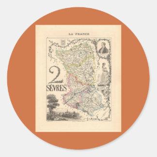 1858 mapa del departamento de Sevres Francia Pegatina Redonda