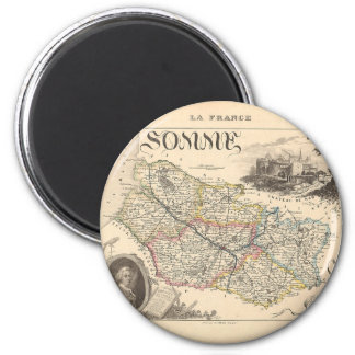 1858 mapa del departamento de Somme, Francia Imán Redondo 5 Cm