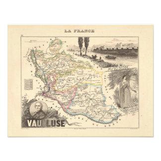 1858 mapa del departamento de Vaucluse Francia Invitacion Personal