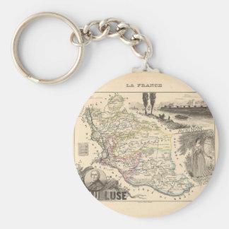 1858 mapa del departamento de Vaucluse Francia Llaveros