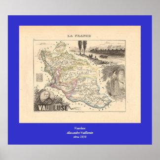 1858 mapa del departamento de Vaucluse Francia Poster