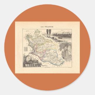 1858 mapa del departamento de Vaucluse Francia Pegatinas Redondas