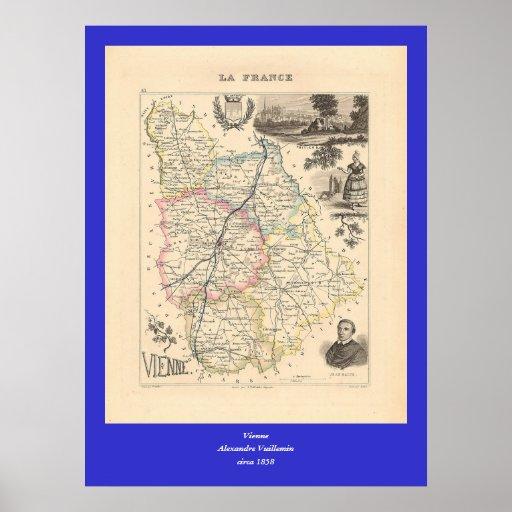 1858 mapa del departamento de Vienne, Francia Impresiones