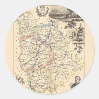 1858 mapa del departamento de Vienne Francia Etiqueta