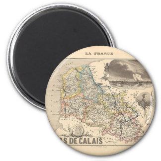 1858 mapa del departamento del de Calais del Pas,  Imán Redondo 5 Cm