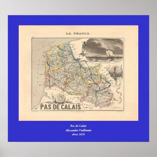 1858 mapa del departamento del de Calais del Pas,  Impresiones