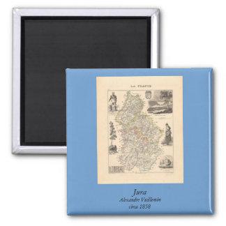 1858 mapa del departamento del Jura, Francia Imán Cuadrado