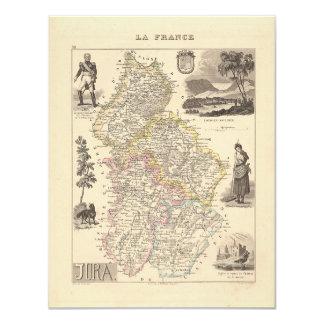 1858 mapa del departamento del Jura, Francia Invitación