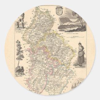 1858 mapa del departamento del Jura Francia Pegatinas Redondas