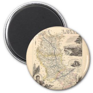 1858 mapa del departamento del Loira, Francia Imán Redondo 5 Cm
