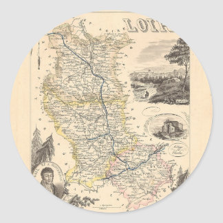 1858 mapa del departamento del Loira Francia Etiqueta Redonda