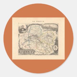 1858 mapa del departamento del Loiret Francia Etiqueta Redonda