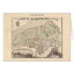 1858 mapa del departamento del Sena Inferieure, Fr Tarjeta