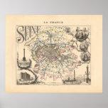 1858 mapa del departamento del Sena, París Francia Posters