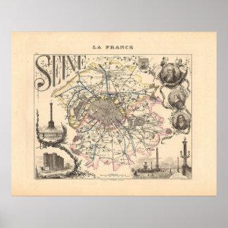 1858 mapa del departamento del Sena París Francia Posters