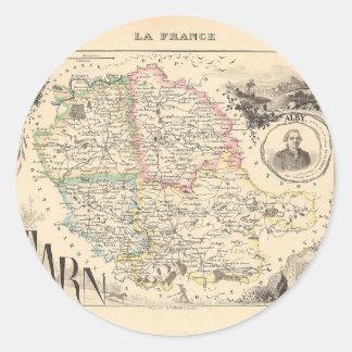 1858 mapa del departamento del Tarn Francia Etiquetas Redondas