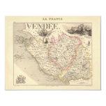 1858 mapa del departamento del Vendee, Francia Invitación 10,8 X 13,9 Cm