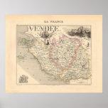 1858 mapa del departamento del Vendee, Francia Impresiones